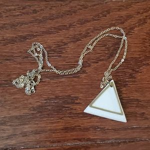 Long Clay & Gold Brass Triangle Necklace